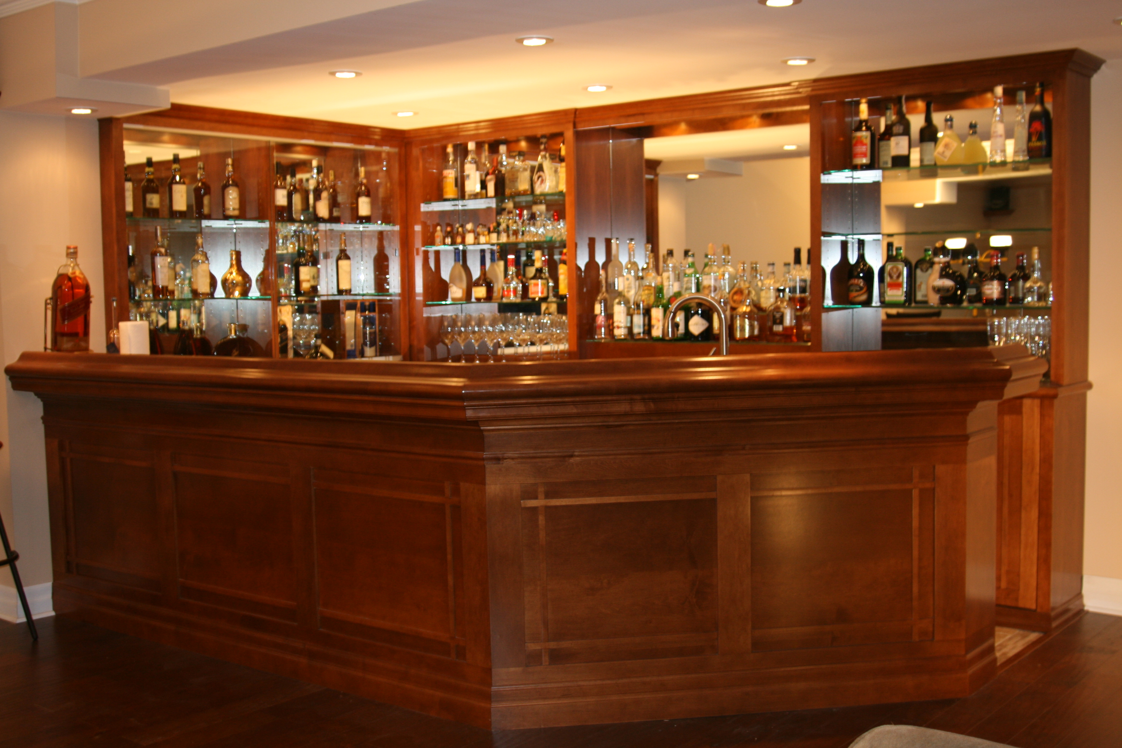 Note the clean elegant lines of the motif for Custom wine bar