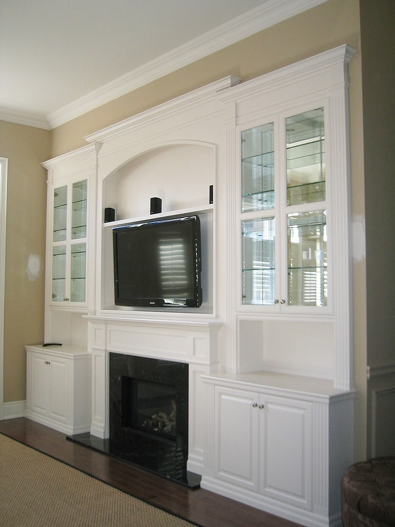 White Lacquer Wall Unit With Tv Amp Fireplace Inserts
