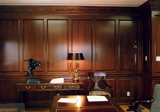 reeces custom home office features solid cherrywood panelling with a hand carved crown cherry wood home office
