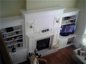 """Fireplace mantel, wall unit and TV enclosure custom designed to suit 14"""" ceilings, white lacquer finish, custom designed by Reece's"""