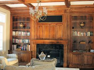 Coffer Ceiling and Custom Solid Woodworking Office