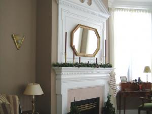 """Regency"" Style Mantel and Overmantel with Broken Pediment Design by Reece's Fine Woodworking"