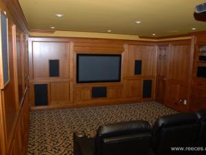 This home theater and entertainment Unit features a built-in television--elegant woodworking, clean simple lines