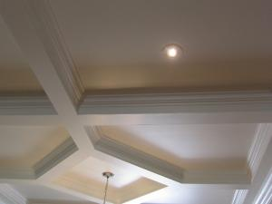 Close-up: A Painted Coffer Ceiling turns any large room into a friendly cozy space Reeece's custom design