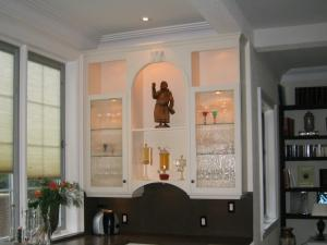 Wall unit, white lacquer finish, above bar area
