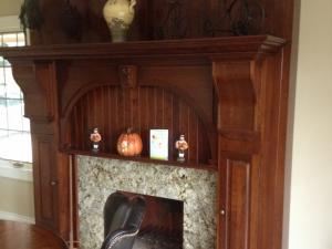 Custom-Designed Fireplace Surround in Stained Cherry Wood