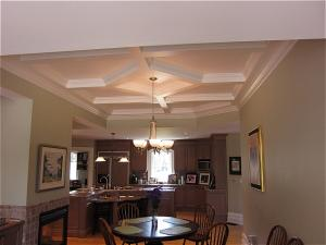 Coffered ceilings add a rich and unique element to this interior design Reeece's custom design: Toronto, Newmarket, GTA