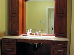 Cherry and marble, Classic Modern Styling, this vanity allows for wheelchair access