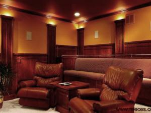 Arts-and-Crafts Style Home Theatre:  Note the Elegant Styling in this Home Theater