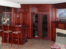 Reece's new home-bar design and wine cooler-- Home wine bar with matching cherry wood wine fridges