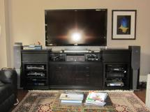 Contemporary black lacquered oak home theatre base