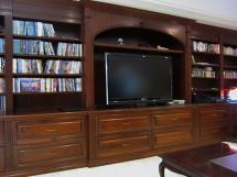 Custom-Built TV Enclosure--Warm oak provides timeless classic style