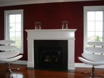 Modern Styling, Reece's custom mantel with white lacquer finish