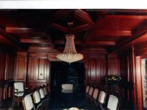 Dark Cherry Stain Custom Panelled Dining Room