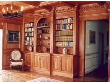 Classic timeless beauty in a cherry panelled library, beautiful custom woodworking by Reece's